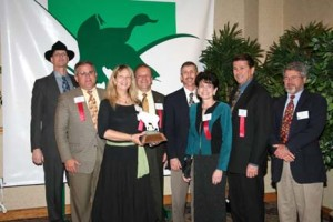 (left to right) Terry Melancon, President of the Louisiana Wildlife Federation, Woodlands Trail and Park Board Members, Paul Richard, Katie Brasted, Clayton White, Hank Willie, Carol Osborne Cowley, Benny Rousselle and Dr. Earl Matthew, Region 8 Director of the National Wildlife Federation